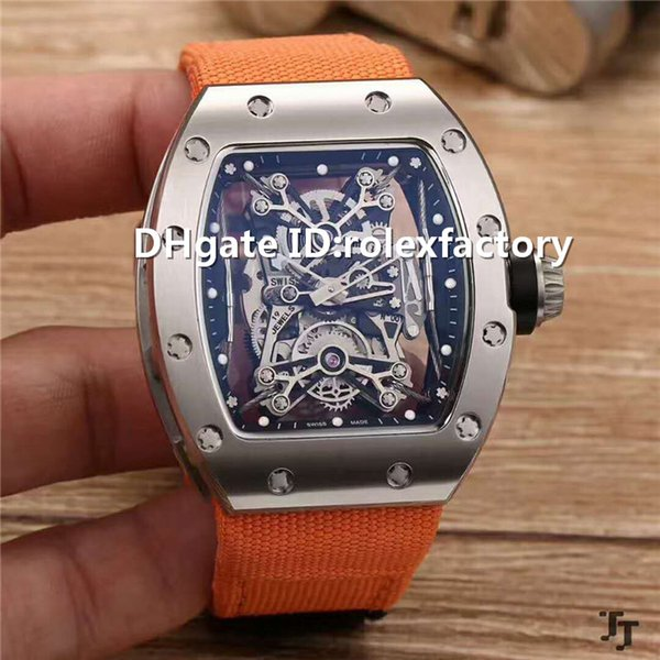 New Luxury 27-01 Watch Automatic Sapphire Crystal Skeleton Dial Stainless Steel Case Canvas strap transparent case back Mens Watch