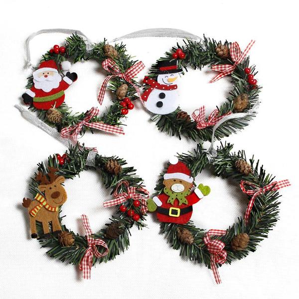 Cute Santa Claus Christmas Wreath Decoration Mini Snowman Christmas Garland Xmas Party Supplies Hanging Ornament Home Decoration