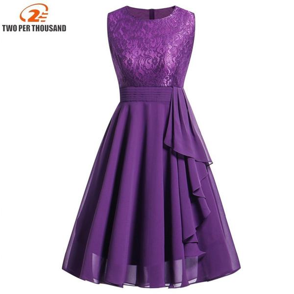 Vestidos Lace Dress Elegant Women Midi Prom Graduation Wedding Slim Party Dresses Summer 2018 Casual Chiffon Beach Dress Y190426