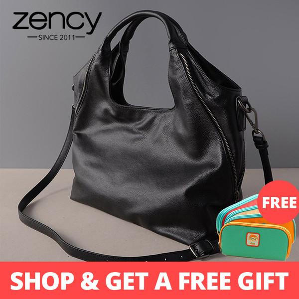 Zency 100% Real Leather Fashion Women Tote Bag Mature Handbags Half Moon High Quality Female Crossbody Messenger Bags Purse Y19061903