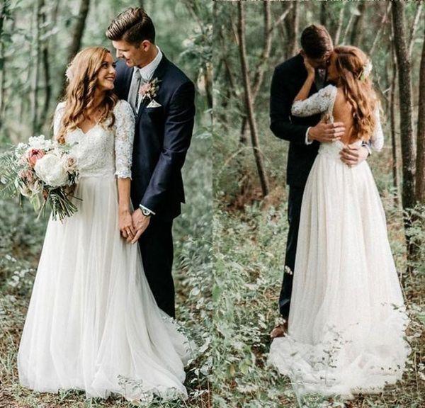2019 A Linha País Vestidos de Casamento Rendas Meia Mangas Backless Vestidos de Noiva V Neck Praia Vestido Formal Do Casamento