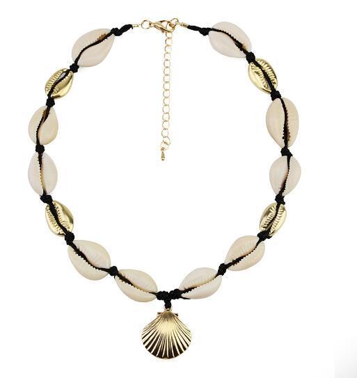 Bohemio Collar de concha natural Moda femenina de moda de aleación de Shell colgante corto collar WL674