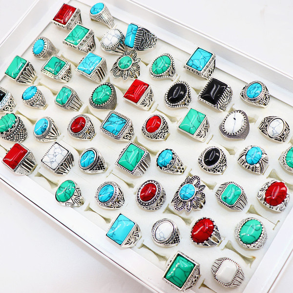 best selling Vintage turquoise stone antique silver rings carved flowers jewelry rings For Men women Party Wedding Gift