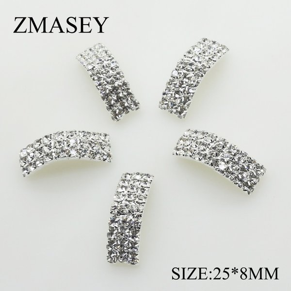 50 Adet / grup 25 * 8mm Kemer Kristal Rhinestone Toka Davet Şerit Slider Düğün Gümüş Aksesuarları Kadınlar Için Kemer Dekorasyon