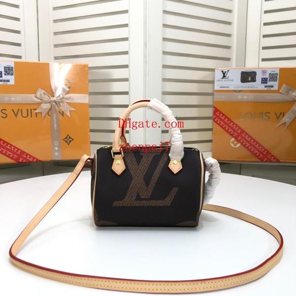 Bolso de la manera de la marca de calidad superior marrón mini monograma bolsa de lona con asa bandolera bandolera bolsos bolsos mujeres QW-12