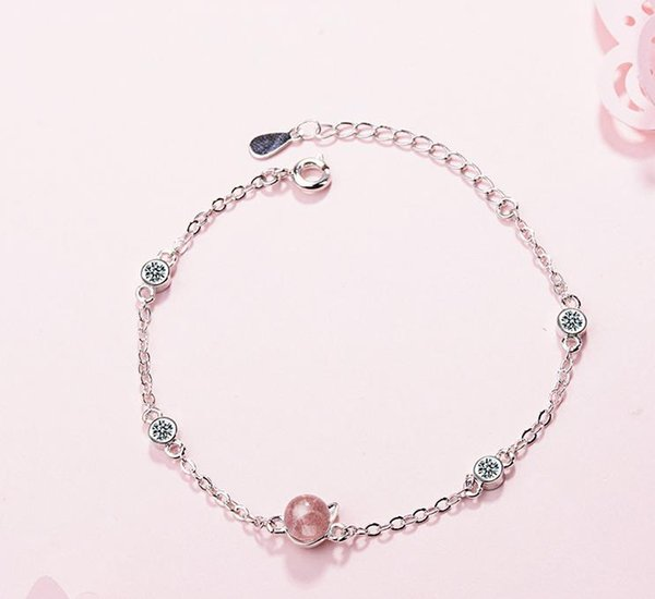 Strawberry Crystal Pink handwear cat Bracelet small fresh cat ear jewelry