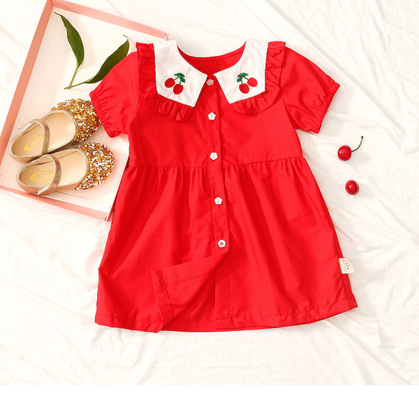 Sommer neue Mädchen koreanische Version des Kirschdruck roten Kleid weibliche Baby süße Kurzarm Rock Kinderkleidung