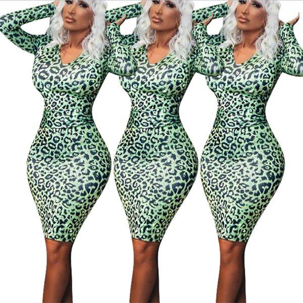 Sexy Tight Damenbekleidung, hochwertiger, langärmeliger Body-Shop-Rock aus V-Blei, neuer Ein-Schritt-Rock aus Polyester mit Leopardenmuster