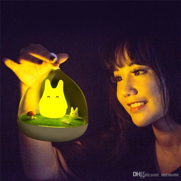 Envío Gratis El Más Nuevo Diseño Lámpara de Noche Totoro Lindo Sensor Táctil Portátil USB Luces LED para el Dormitorio del bebé Sueño Luz de Iluminación