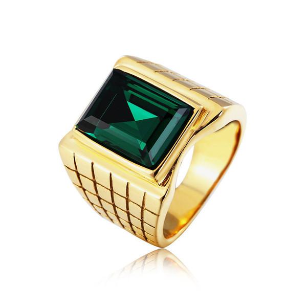 Big gemstone jewelry rings vintage titanium steel ring rectangle gemstone titanium steel ring jewel ring for men free shipping