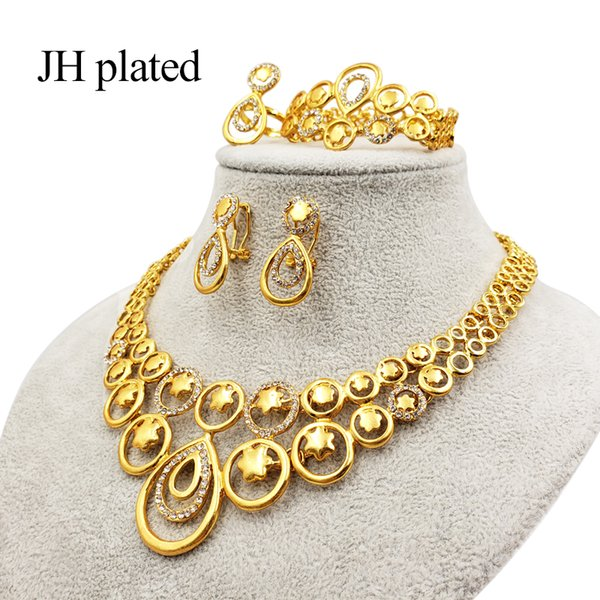 jhplated ethiopian women gold color jewelry set bride wedding necklace bangle earring ring african eritrea gift sets