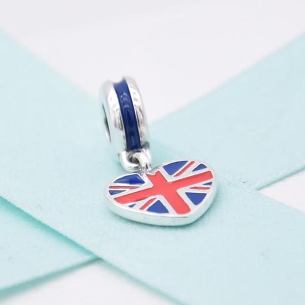 Dropshipping charms Gümüş 925 İngiltere bayrağı aşk kalp Boncuk renk emaye ile Fit pandora Kolye Bilezik diy moda Takı Hediyeler