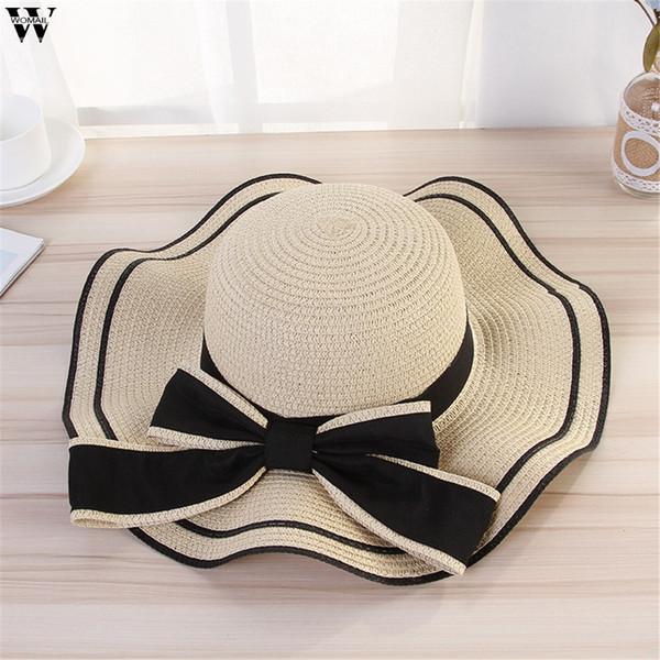 Arbeiten Sie schöne erwachsene Kappe Bogen-Strohhut Sommer Sun Beach Sun-Hut-Mädchen-Hutsonnenhüte für Frauen um