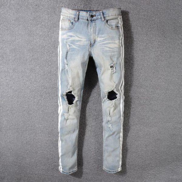 2019 new High Street Trends Hole Jeans Men's Light White Stripe Print AMIRI Micro-Slim Slim Pants
