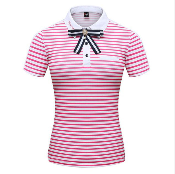 2019 Golf Sportswear Apparel Women Summer Striped Lapel Short Sleeve T-Shirt Spring Breathable quick-drying Sports Shirts tops