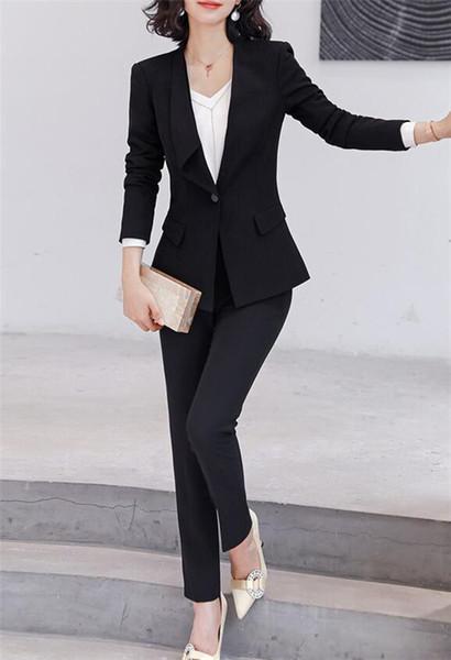 Moda Preto Jacket + Pants Mulheres ternos de negócio Blazer formal Ladies Pant ternos Uniforme Escritório Estilo Feminino calças terninho SH190928