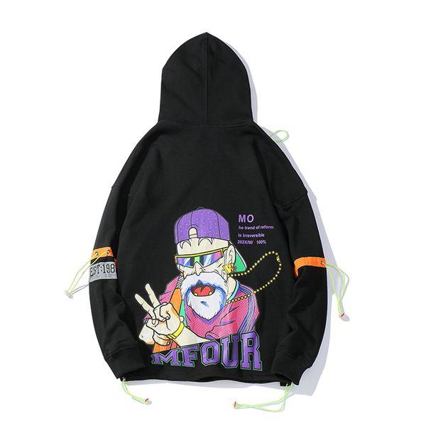 2019 New High Street Hip Hop capuche Hoodies Personnalité masculine Lettre Cartoon Imprimer Brochage Sweat-shirt à capuche Stranger Thing