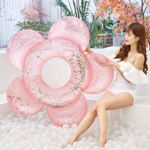 best selling 140cm Float Circle PVC Outdoor Swimming Ring Seat Adults Summer Pool Sparkles Flower With Glitter Water Party Inflatable Tube