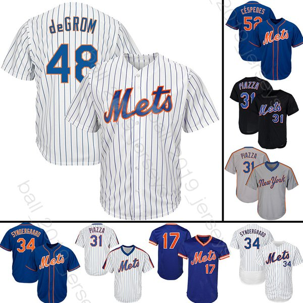 reputable site 3c9c9 5775b 2019 New York 48 Jacob DeGrom Baseball Jersey Mets 18 Darryl Strawberry  Jerseys 31 Piazza 34 Syndergaard Tshirt From Ball_2019_jerseys, $23.5 | ...