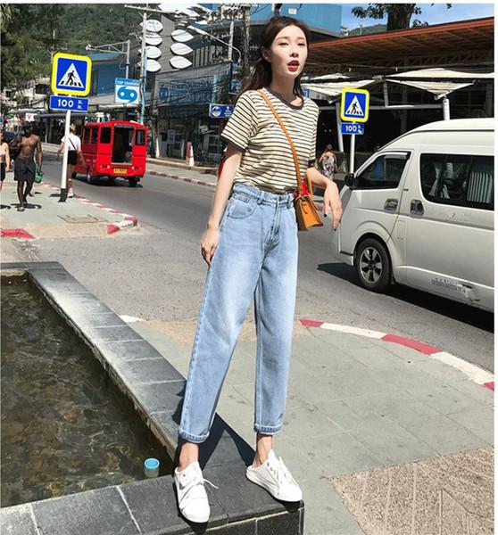 2019 sommer Frauen Vintage Hohe Taille Breites Bein Denim Hosen Pluderhosen Mode Elastische Taille Harem Jeans