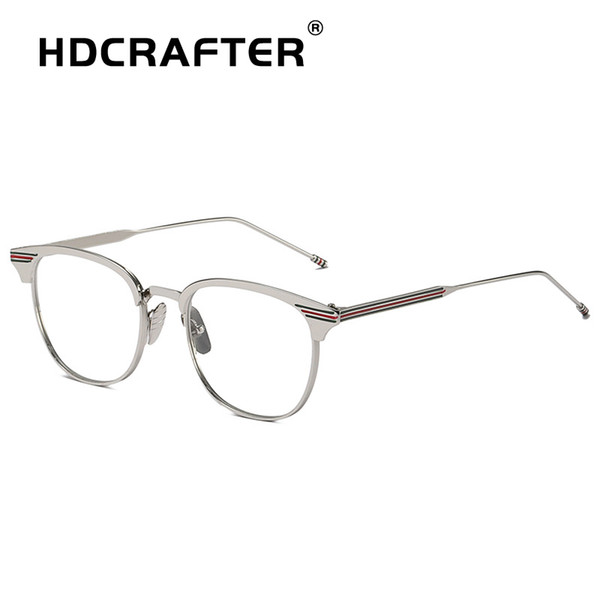 HDCRAFTER New Popular Computer Glasses Frame Women Men Flat Mirror Square Myopia Frame Eyeglasses Trend Metal Men Women Eyewear