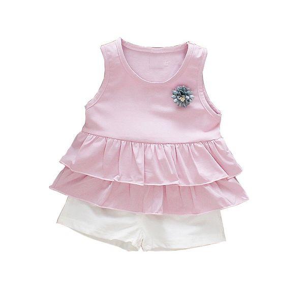 good quality 2019 Summer Baby Girl Clothing Set Kids Tracksuit Vest Tops+Shorts 2pcs Infant Clothes Set Newborn Clothing Suits
