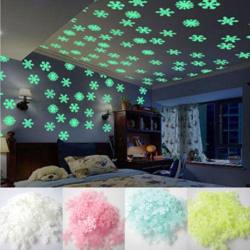 Faroot 50Pc Glow In The Dark Weihnachten Schneeflocke Wandaufkleber Leuchtende Kinderzimmer Weihnachtsdekor