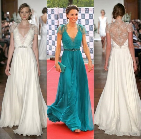 Hunter Lace Chiffon Evening Formal Red Carpet Dresses with Crystal Belt 2019 Kate Middleton in Jenny Packham Full length Occasion Prom Gown