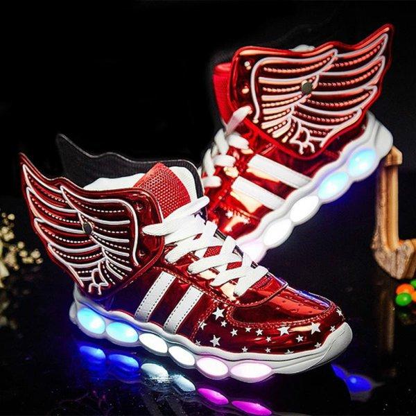 Kanatlar erkekler kadınla Çocuklar Işıltılı Işıklı Yukarı Ayakkabı Spor Ayakkabılar için Erkekler Kızlar LED Ayakkabı şarj usb Parlayan Yeni Çocuklar Günlük Ayakkabılar Işıklar