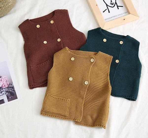 Baby Knitted Vest Korean Baby Boys Girls sleeveless Sweater Vests Girls Kids Casual Waistcoats Children Knitting Wool Cardigan