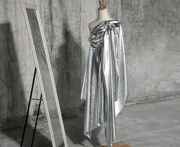 art bright matte black mirror coated knit fabric / bright metallic pu leather fabric wedding dresses prom tweed thin fabric a022