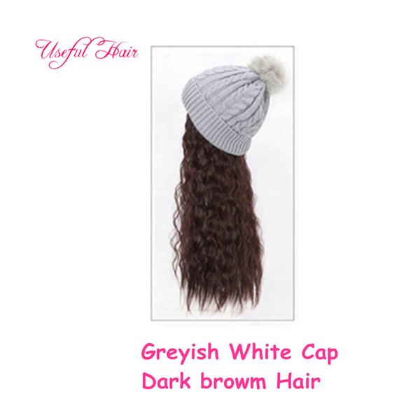 Greyish white cap dark brwon Curly hair