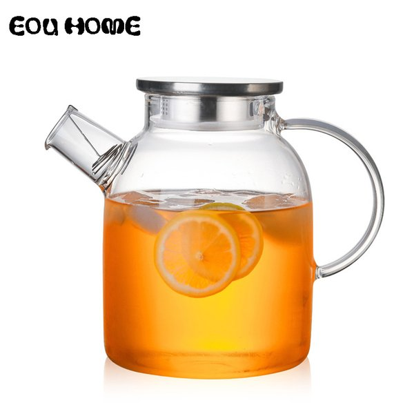 top popular 1L 1.5L Transparent Glass Teapot Heat Resistant Flower Kettle Water Jug with Bamboo Stainless Steel Cover Clear Juice Container 2021