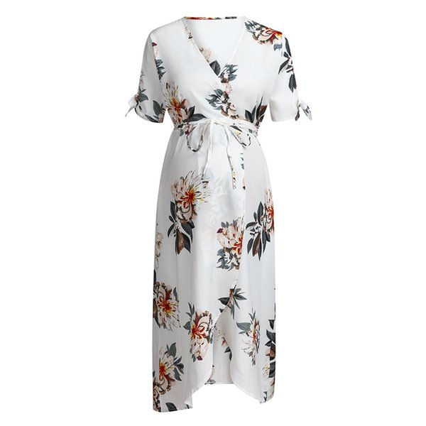 Женщины материнства с коротким рукавом v воротник цветочные печатные платья беременных лето рябить кружева-вверх лук длинные платья для фотосессии A30