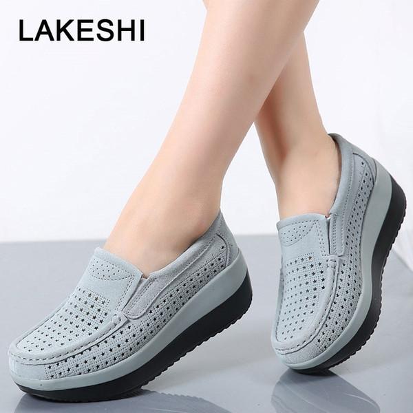 LAKESHI mocasines enredaderas Mujeres plataforma plana zapatos de moda de los holgazanes de las mujeres Zapatos de gamuza hueco Shake Slip On Mujer