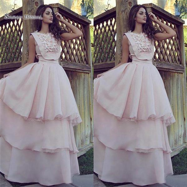 2019 Aline Wedding Dresses Sleeveless Lace Appliques Tulle Tiered Skirts Chiffon Long Party Vestidos De Novia