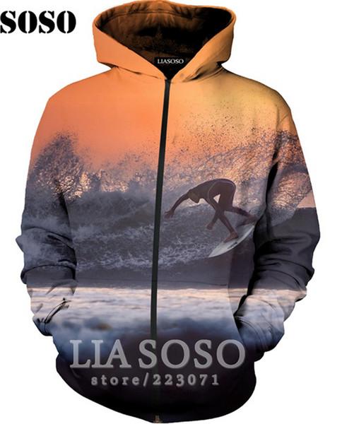 Novos homens da forma / mulheres esportes radicais surf 3d impressa camisola bolso com zíper hoodies r50