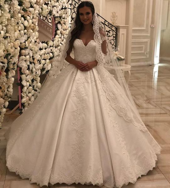 Oriente médio árabe elegante vestidos de casamento lace apliques vestido de baile decote querida mangas vestido de noiva vestido de novia