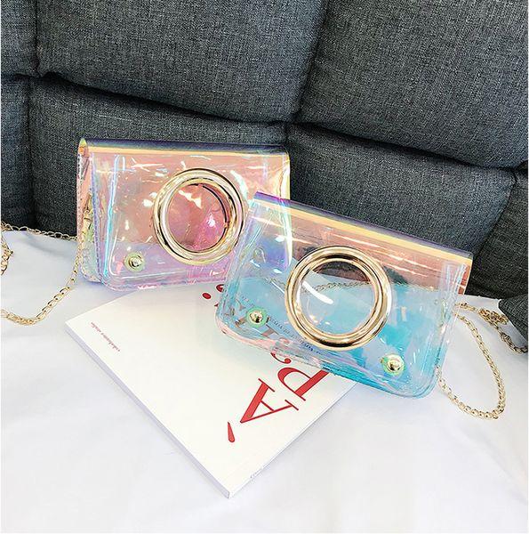 Pretty2019 Ragazza borsa trasparente Singolo pacchetto per donna con cerchio laser a spalla
