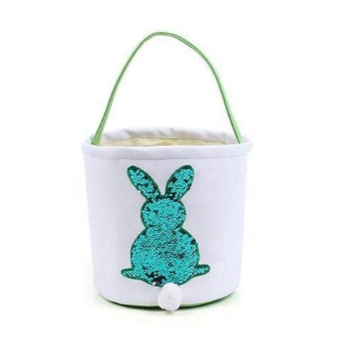 Easter Basket Sequin Easter Bunny Baskets Mermaid Storage handbags Tote Hand Carrying Candy Bags Decoration Bucket GGA1703