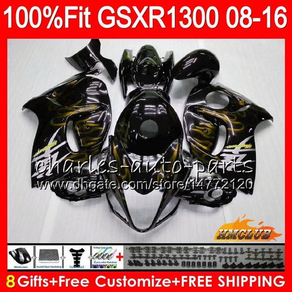 Injection For SUZUKI Hayabusa GSXR1300 08 14 15 16 17 18 25NO.150 GSX-R1300 gold flames GSXR 1300 2008 2014 2015 2016 2017 2018 OEM Fairing