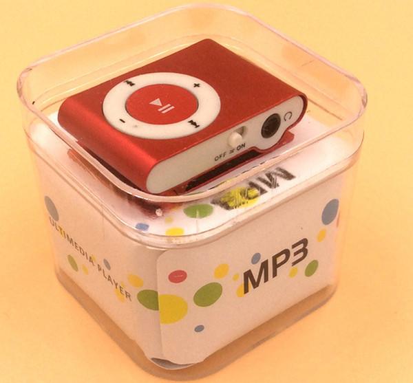 NOUVEAU Mode Mini bon marché Digital Clip Mp3 Music Player USB avec des couleurs mélangées d'argent carte SD Slot noir DHL gratuit