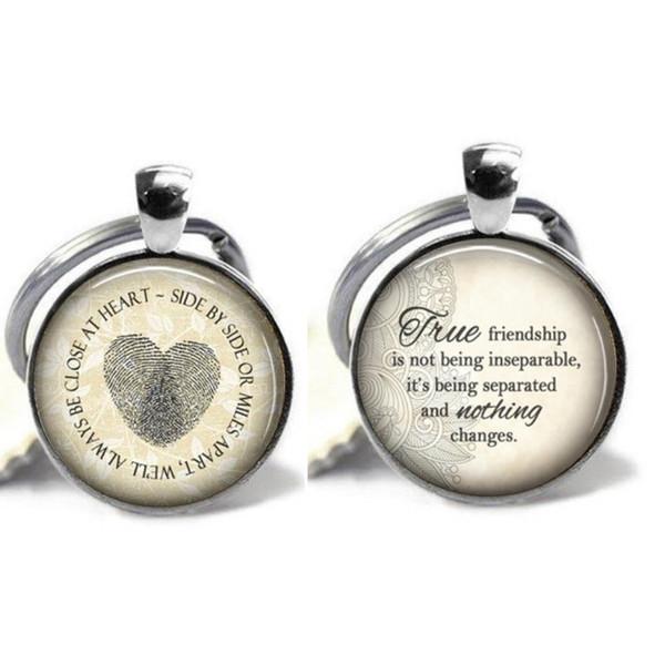 2PCS best friend crystal keychain, forever friendship alloy keychain, best friend cabochon glass pendant key ring