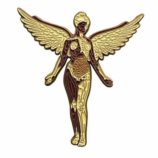 Nirvana Rock Band Pin in Uterus Musik Abzeichen Angel Kunst Brosche Heavy Metal Fans Geschenk Grunge Dekor