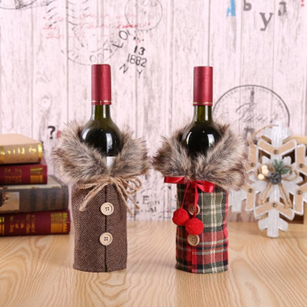 Creative New Wine Cover with Bow Plaid Linen Bottle Clothes with Fluff Creative Wine Bottle Cover Fashion Christmas Decoration ZZA1556-1