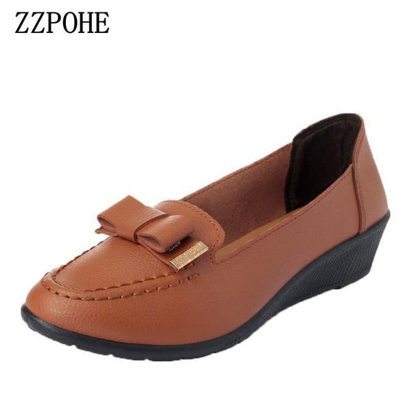 Designer Dress Shoes ZZPOHE Spring mother women non-slip Soft bottom round single flower casual Female black Plus size