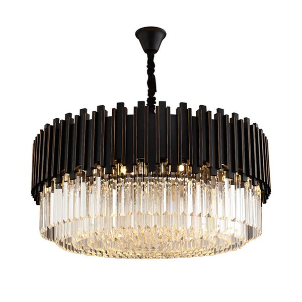 New Designer Modern Crystal Chandelier Lamps Living Room Bedroom Vintage  Pendant Light American Luxury Black Crystal Chandeliers Lighting Foyer ...