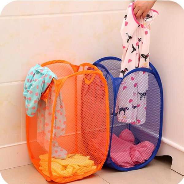 Portable Mesh Laundry Storage Basket Durable Handles Hight Quality Folding Clothes Receive Box Easy to Open Home Supply