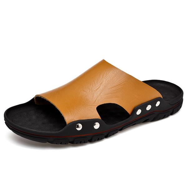 4b900de4 Zapatos de hombre 2018 Zapatillas de cuero genuino Sunmmer Moda Zapatillas  de playa Sandalias Zapatos para