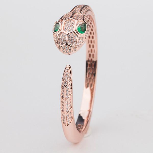 Diseñador de lujo brazaletes moda gran cabeza de serpiente pulseras casuales calidad para mujer para hombre de la boda pulsera de plata brazaletes de plata parejas pulseras